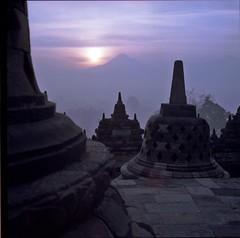 Sunrise at Borobudur Temple (@hbui) Tags: 6x6 film sunrise mediumformat analogue jogjakarta borobudur 120mm carlzeiss hasselblad500cm hassy kodakportra earthasia