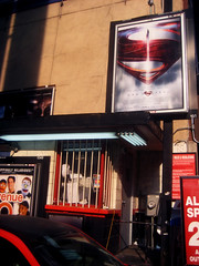 Man of Steel - New Superman Billboard theater Poster 0324 (Brechtbug) Tags: street new york city nyc blue red man work dark comics painting movie poster square book dc paint theater comic near steel character alien bat working broadway s superman billboard advertisement adventure hero superhero billboards knight worker shield times insignia krypton 46th 2013