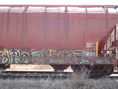 (derrrff!!!!!!) Tags: train graffiti painted spray graff freight rolling fr8 benched benching