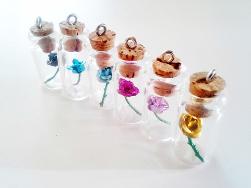 Colorful Rose in a Bottle Necklaces