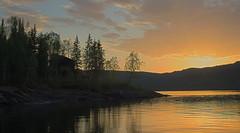 langvatnet (Mats Svendsen) Tags: sunset sky cloud sun tree nature water beautiful norway landscape hut hdr svendsen helgeland moirana langvatnet