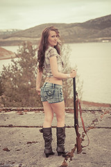 Carina The Hunter (Theresa ) Tags: portrait woman sexy beautiful norway tattoo female canon ruins gun rifle denim alta brunette theresaknudsenphotography