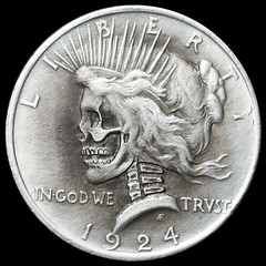 peace dollar skull (Seth Basista Engraving) Tags: art halloween modern skull necklace carved seth coin coins jewelry engraving horror nickel nickels hobo engraved sculpted basista