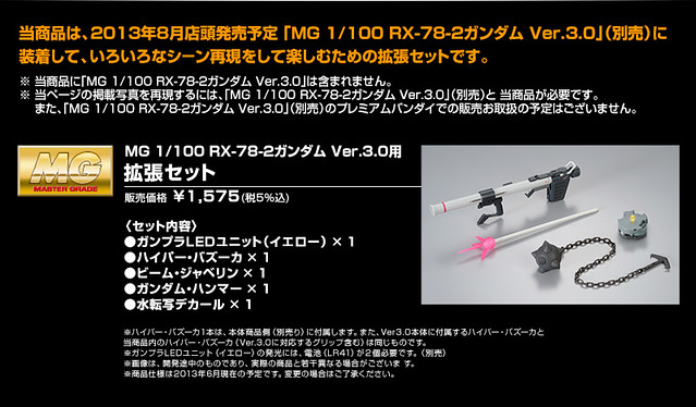 MG 1/100 RX-78-2 鋼彈Ver.3.0  擴充套件