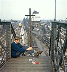 Trainspotting 1968 (Kingmoor Klickr) Tags: southall trainspotting gordonedgar footbridge merrick road loco shed 81c roy burt