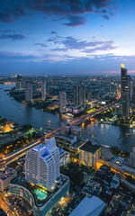 River of Thailand. (Tanatat pongpibool) Tags: street new york old city travel bridge blue sunset red sky urban usa house reflection building church water skyline architecture modern night america buildings river landscape outdoors town office twilight scenery europe downtown day cityscape exterior view skyscrapers dusk bangkok district famous towers scenic skylines landmark scene business destination metropolis financial cumberland thaialnd