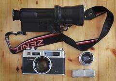 Flea Market Finds (deff0) Tags: camera gear rangefinder cyclops electro industar26m fleamarket yashica nightvision smena helios h3t1