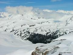 Looking down into International Basin (Conrad Janzen) Tags: mountain ski tom pass traverse guide rogers conrad wolfe bugaboos janzen