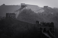 The Great Wall - Mutianyu - Beijing - China (Rogg4n) Tags: world china travel trees winter blackandwhite bw mist mountain brick heritage monument nature monochrome fog wall architecture wonder landscape march grande smog spring ancient asia noiretblanc walk sony country great north chinese beijing dramatic atmosphere landmark icon unesco hills segment greatwall 中国 fortification defense kina antic twine mutianyu wonders chine muraille whs jiankou patrimoine compactcamera 2014 pékin 長城 sevenwondersoftheworld 慕田峪 dscwx300