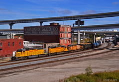 "Westbound Transfer in Kansas City, MO (""Righteous"" Grant G.) Tags: up union pacific railroad railway locomotive train trains west westbound transfer freight kansas city missouri power emd ge"