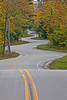 A LONG and WINDING ROAD (ddt_uul) Tags: road winding wisconsin door doorcounty fall leaves leaf asphalt highway bitumen blacktop tarmac