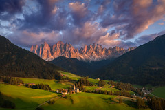 Contrast (Radisa Zivkovic) Tags: mountain sunset cloud village travel dolomites italy alps tyrol church peak meadow woods countryside pasture tree house light sky idyllic landscape vastness nature scenery outdoor red blue purple beautiful panorama high moody environment