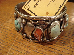 "NAVAJO STERLING, TURQUOISE, AND CORAL BRACELET. • <a style=""font-size:0.8em;"" href=""http://www.flickr.com/photos/51721355@N02/30171908442/"" target=""_blank"">View on Flickr</a>"