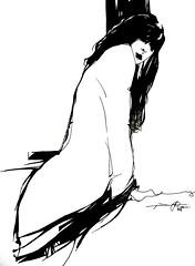 P1015638 (Gasheh) Tags: art painting drawing sketch portrait figure girl line pen gasheh 2016