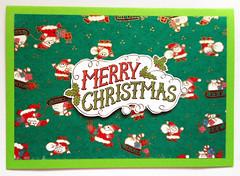Christmas card 12_2016 (tengds) Tags: christmascard card handmadecard green santa santaclaus white red japanesepaper yuzenwashi washi chiyogami papercraft tengds