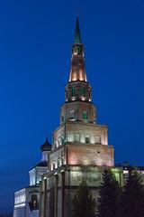 Syembik Tower of Kazan Kremlin (Oleg.A) Tags: autumn cathedral sunset kremlin street twilight church city kazan russia evening tatarstan oldtown catedral town  respublikatatarstan ru