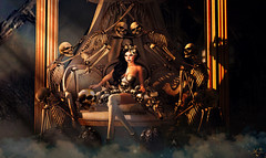 Bones paradise (meriluu17) Tags: boudoir skeleton skull bone bones halloween dark light lights black gold indoor fog catwa fantasy people