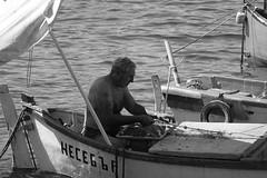 Fisherman, Nesebar, Bulgaria (alex_7719) Tags: blackandwhite monochrome sea blacksea water fisherman boat bulgaria nesebur nesebar nessebar