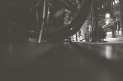 Kick (Yosh the Fishhead) Tags: minox minox35 minox35gt film films foma fomapan fomapan400 blackwhite bw blackandwhite monochrome tokyo japan bike bicycle wheel