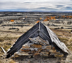 Oct 20 2016 - The view of Nowater Creek (lazy_photog) Tags: lazy photog elliott photography worland wyoming nowater creek slab dynamite storage buildings dugouts hill side old abandoned weathered 102016nowaterslabrootcellars