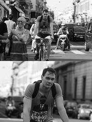 [La Mia Citt][Pedala] con il BikeMi (Urca) Tags: milano italia 2016 bicicletta pedalare ciclista ritrattostradale portrait dittico nikondigitale mir bike bicycle biancoenero blackandwhite bn bw 89858 bikemi bikesharing