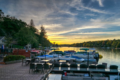 Dinner By the Dock (tquist24) Tags: hdr lakeharmony nikon nikond5300 pennsylvania boat boats clouds evening geotagged honeymoon lake reflection reflections restaurant sky sunset tree trees water unitedstates