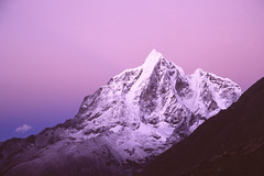 Taboche (robertdownie) Tags: sky sunset mountains blue clouds rock snow face black pink climbing purple mountain nepal ice cloud glacier dusk hiking himalayas trekking ridge alpine everest region dingboche taboche