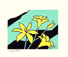 Late yellow day-lily (Japanese Flower and Bird Art) Tags: flower late yellow daylily hemerocallis thunbergii hemerocallidaceae saburo miyata modern woodblock print japan japanese art readercollection