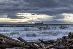 Surf (Paul Rioux) Tags: bc victoria juandefucastrait salishsea ship vessel freighter bulkcarrier morning ocean sea marine clouds prioux outdoor wind waves storm surf breakers beach driftwood logs mountains