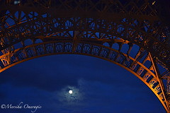 A view under the Eiffel Tower (Yummilicious Cakes & Desserts) Tags: fullmoon eiffeltower paris night architecture travel vacation