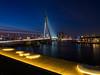 De Erasmusbrug vanaf wilhelminaplein net na de zonsondergang (VAvBochove) Tags: 2016 zonsondergang erasmusbrug euromast koningshaven maas rotterdam wilhelminaplein
