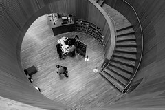 Borrowers (Douguerreotype) Tags: uk gb britain british england london architecture buildings bw blackandwhite mono monochrome spiral helix stairs steps library people books city urban wood