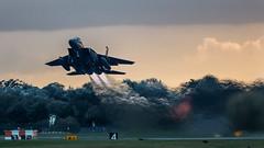 Liberty Sunset Departure. (Steve Cooke-SRAviation) Tags: 48thfighterwing 492fs 493fs 494fs 500mm 5d3 f15eagle f15c f15e raflakenheath usaf usafe canon sraviation explore