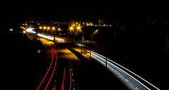 3 lots of 2 lights (PDKImages) Tags: traffic long exposure longexposure lights light red white amber lines cars motorway dark church contrasts delays speed denton manchester