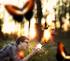Into The Air (Shane Michael Black) Tags: flowers glasses woods bokeh smoke butterflies flannel jar goldenhour