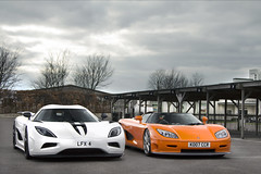 Evolution. (Alex Penfold) Tags: auto camera orange white cars alex sports car sport mobile canon photography eos photo cool flickr track day image duo awesome flash stripe picture super spot exotic photograph spotted hyper circuit supercar goodwood spotting exotica ccr sportscar koenigsegg 2012 sportscars supercars combo penfold spotter saywell hypercar 60d hypercars agera alexpenfold supervettura