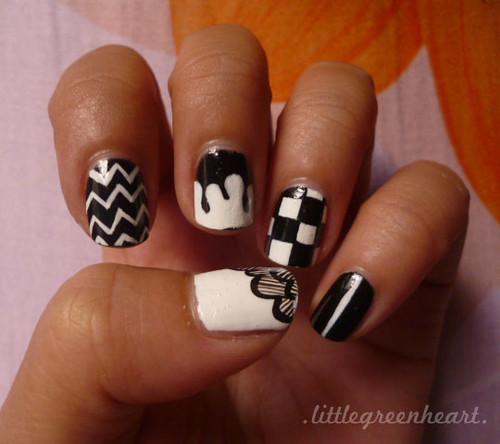 Day 7: Black & White Nails Part 1