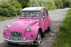 Rosie in the country-16 (magicalnights) Tags: pink wedding car derbyshire 2cv chic weddingcar shabbychicwedding sexyweddingcar 2cvweddingcar