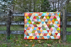 Thousand Pyramids quilt (Sewfrench) Tags: modern triangle quilt cotton solids value kona handquilted equilateral