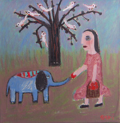 1115-0-blue-elefant10x10pap (sariart2) Tags: blue original elephant tree art girl birds collage altered landscape mixed media folk ooak apples sari azaria noy