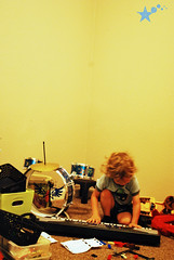 143 of 365 - Music in the Morning ([ the black star ]) Tags: morning boy music drums kid toddler keyboard things kingston again stuff late instruments shrug 143365 k143 theblackstar thelittlemister onehundredfourtythree sortofaguitar