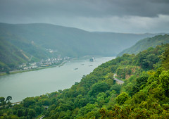Rhine River Valley - Germany on Rainy Day (mbell1975) Tags: mist rain river germany deutschland boat europe day ship cloudy cargo rainy german valley rhine rhein barge deutsch