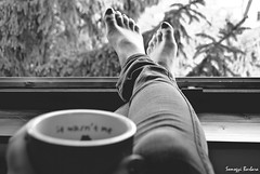 beautiful morning - 2 (somogyibarbara) Tags: morning light blackandwhite bw tree feet window beauty sunshine pine contrast itwasntme forest project photo blackwhite spring toes dof hand view pants legs tea bokeh jeans nails barefoot mug trousers denim tight bnw soffee routine sillwindowsill