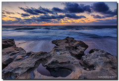 "Dawn at My ""Go To"" Rocks (Fraggle Red) Tags: ocean park morning sea beach water clouds dawn rocks florida incomingtide jupiter atlanticocean hdr countypark 7exp canonef1635mmf28liiusm carlinpark dphdr palmbeachco"