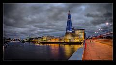 Shard By Night (Nick.Coombs) Tags: bridge red england bus london tower thames night canon river long exposure ship view belfast fisheye shard starburst moodysky