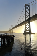 it's just dawning (pbo31) Tags: sanfrancisco california morning summer panorama sun color reflection water northerncalifornia june yellow sunrise dawn bay nikon large panoramic baybridge embarcadero bayarea 80 stitched 2013 d700