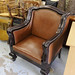 Throne style leatherette and wood chair