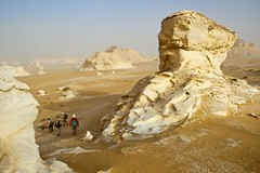 42-30963792 (   ) Tags: africa travel sky people tourism sahara rock outdoors desert hiking group egypt middleeast dry tourist few maghreb daytime groupofpeople arid clearsky rockformation westernsahara eroding northernafrica whitedesert libyandesert alwadialjadidgovernorate egyptdesertregion