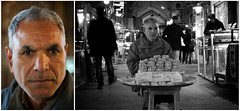 Anjil Furush (alishariat) Tags: street travel portrait blackandwhite man colour face photography stand fantastic diptych iran market awesome middleeast stall adventure explore intrepid bazaar discovery esfahan isfahan alishariat intrepidtravels