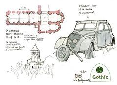 La Chapelle Saint-Robert (gerard michel) Tags: auto france sketch plan église peugeot croquis poitoucharentes